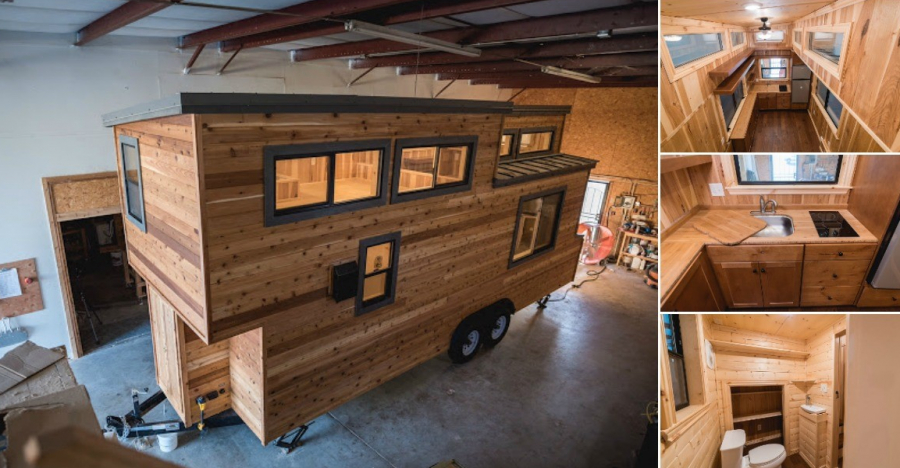 California Tiny House Builder Creates Wooden Beauty on 24ft Trailer